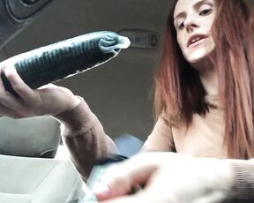 Girl Girl, Hairy Bush, Lesbians, POV Strapon, Redhead freckledred public squirting with cucumber in a car ManyVids