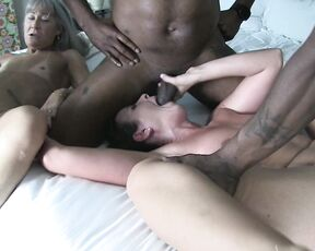 Orgy, Interracial, BBC, MILF, Mature helenas cock quest my mini interracial orgy with leilani ManyVids