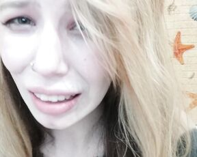 Blonde, Crying, Embarrassed Naked Female, Nudity/Naked, Tattoos megaplaygirl ugly cry in my bathroom custom ManyVids