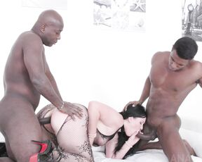 pantyhose, natural tits, black hair, interracial, tattoo, anal, bbc, deep throat, big butt, indoor, sex toy, pale white skin, gapes, curvy body, long hair, straight hair, blowjob, shaved pussy hair, curvy, thick body, high heels Kinky interracial DP with