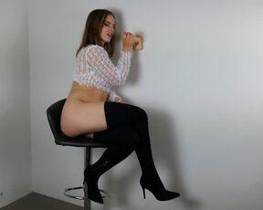 High Heels, Ass briannabellxxx blowjob from a stool with cum dripping