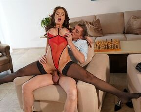 Medium Ass, Sex, Pussy Licking, Facial, Missionary, All Sex, Doggystyle, Cum on Pussy, Brown Hair, Reverse Cowgirl, Outie Pussy, Brunette, Blouse, Anal Fingering, Deep Throat, Face Fuck, Anal, Blowjob, Indoors, Black Stockings, Big Tits, High Heels, Russi
